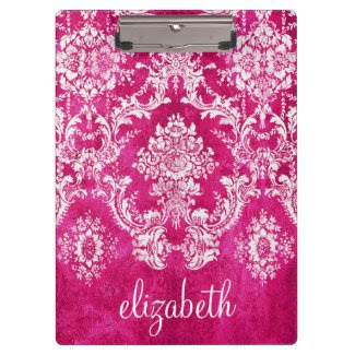Hot Pink Grunge Damask Pattern Custom Text Clipboard