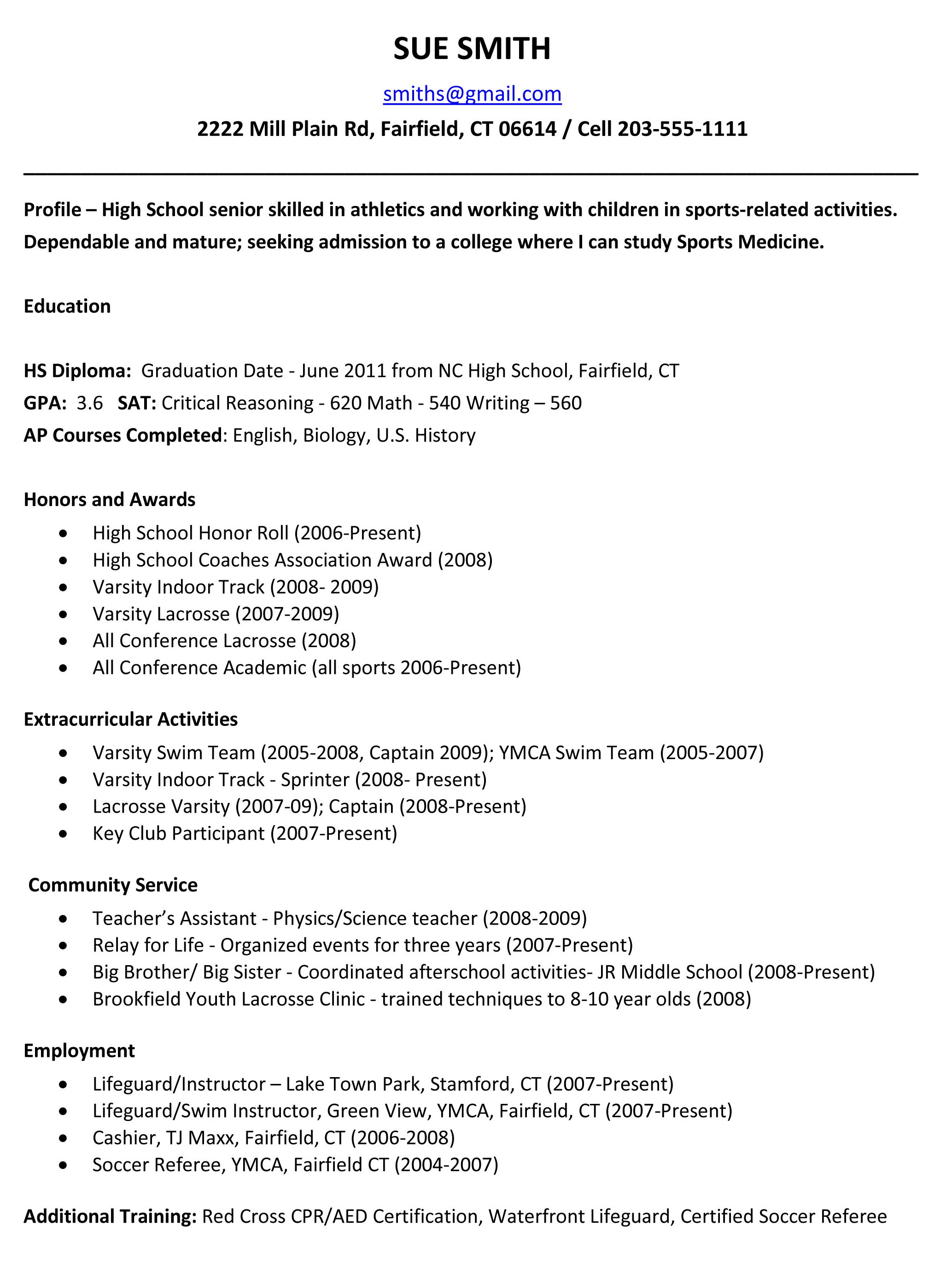 Resume Format Resume Samples High School