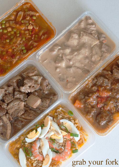 Callos beef  tripe, bicol express pork, caldareta stew, palabok and dobo pork at Pandesal Bakehouse, Beverly Hills