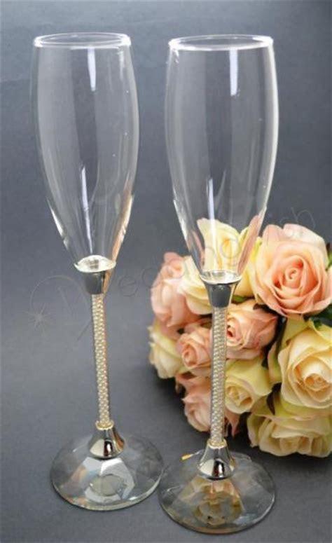 Wedding Pearl Stem Wedding Champagne Flutes   Wedding Wish