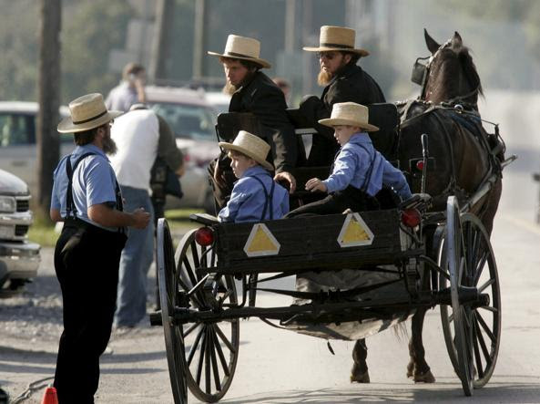 Bambini e adulti su un tipico buggy, i carri simbolo della comunità Amish (Foto Epa)