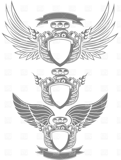 Racing emblem with engine, wings and ribbon Vector Image
