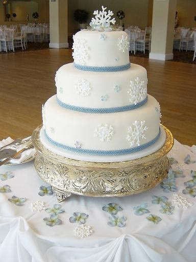 Oh, Those Wedding Belles, Winter wedding cake decorated with