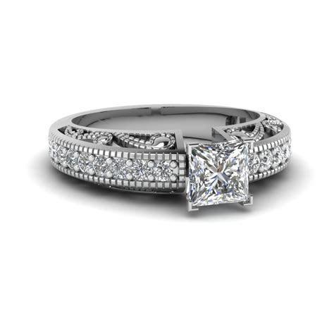 Asscher Cut Diamond Milgrain Paisley Side Stone Ring In