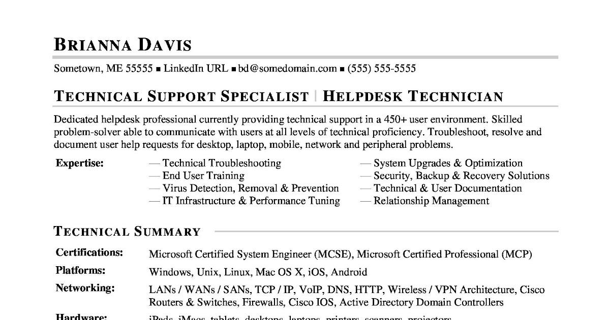 help desk resume template