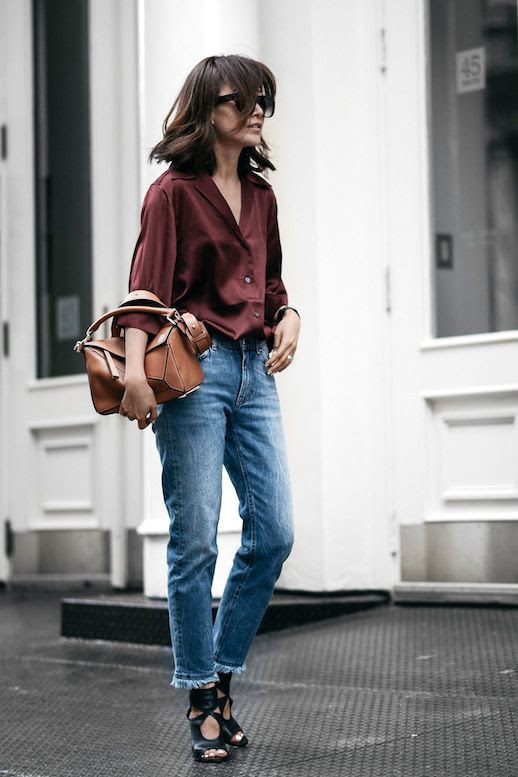 Le Fashion Blog Casual Blogger Style Wavy Bob Burgundy Acne Silk Button Down Shirt Frayed Hem Jeans Black Heeled Sandals Camel Loewe Satchel Bag Via Z Hours