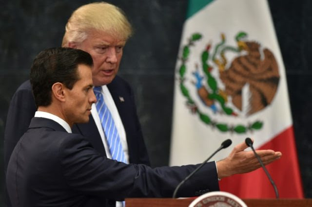 Mexican President Enrique Pena Nieto, pictured with Donald Trump in 2016 when Trump was a presidential candidate
