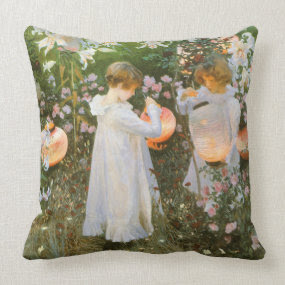 Carnation, Lily, Lily, Rose by John Singer Sargent throwpillow