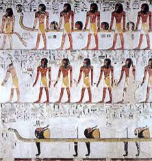 From the tomb of Seti I, the sixth hour of the Book of Gates and the unifcation of the ba-soul and body