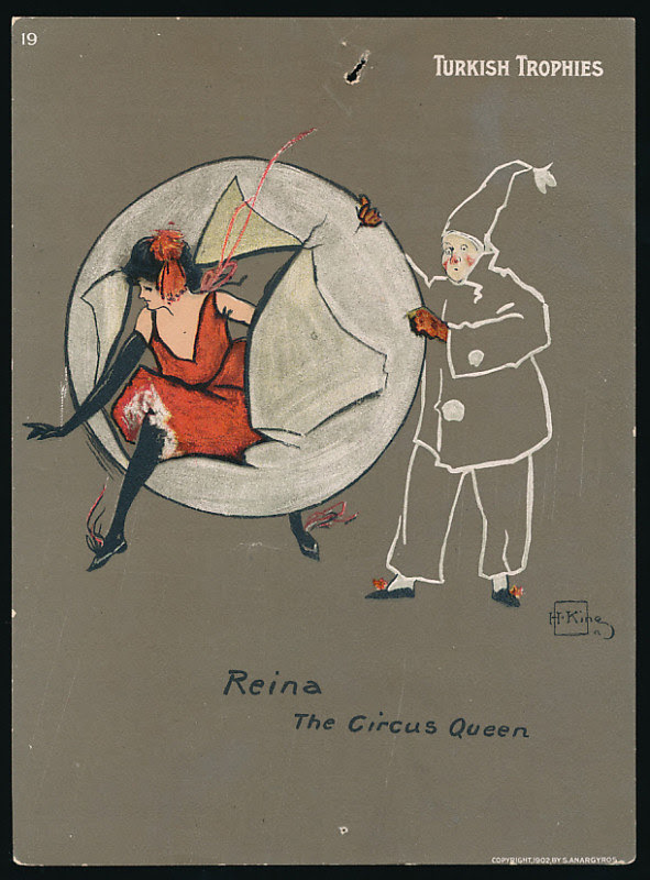 sketch of woman bursting through paper ring held by circus clown