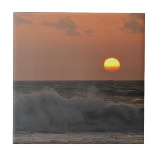 Sunrise and Waves Ceramic Tile