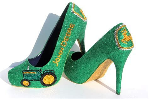 John Deere Heels with Swarovski Crystals in Green and Gold
