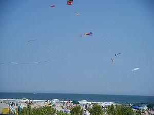 Kites on the Ocean City, New Jersey beach at 1...