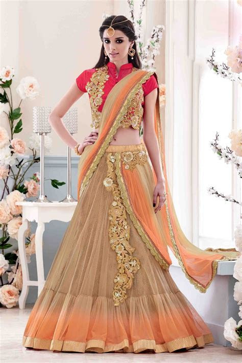 Net Party Wear Lehenga Saree In Beige and Orange Colour in