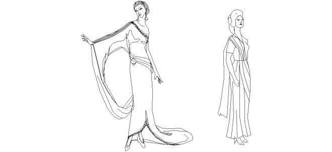 Gece Elbisesi Giymiş Bayanlar Gece Elbiseli Bayan çizimi