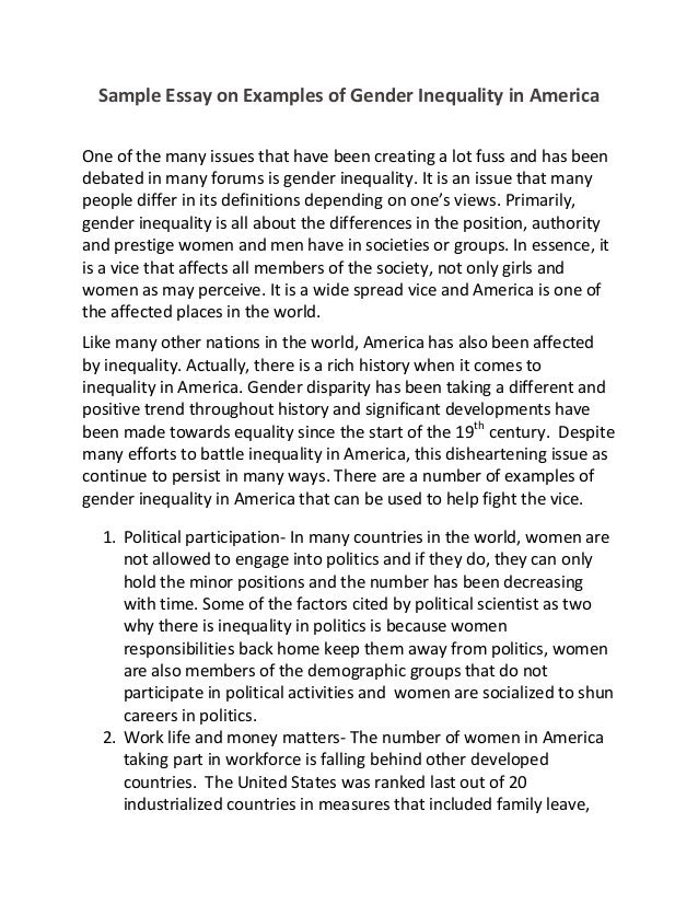 a good thesis statement about gender inequality