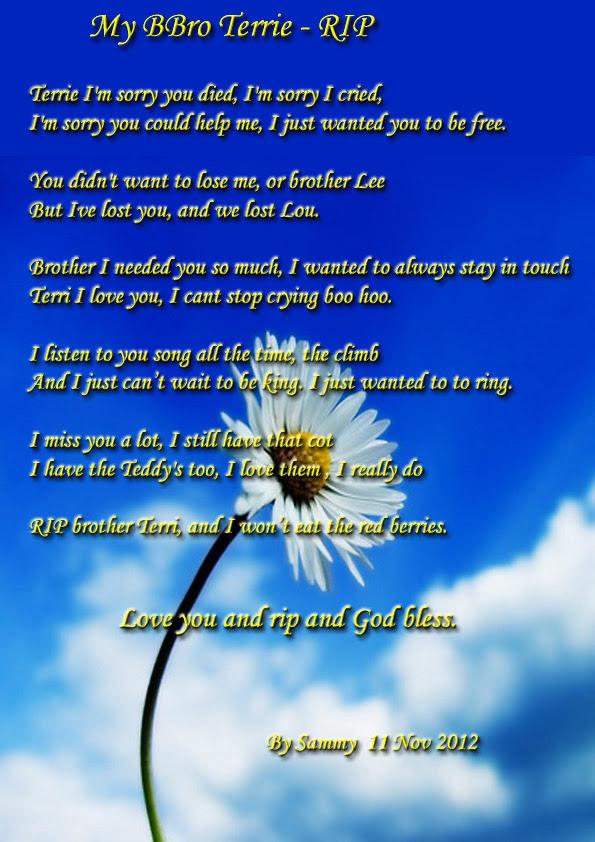 My Bbro Terrie Rip Poems By Teen Poets