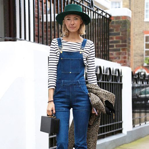 Le Fashion Blog London Street Style Green Hat Short Blonde Bob Striped Shirt Denim Overalls Mark Cross Grace Bag Leopard Coat photo Le-Fashion-Blog-London-Street-Style-Green-Hat-Short-Blonde-Bob-Striped-Shirt-Denim-Overalls-Mark-Cross-Grace-Bag-Leopard-Coat.jpg