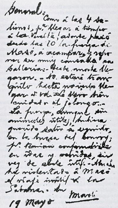 Nota de Martí para Máximo Gómez del 18 de mayo de 1895. Tal vez su último texto escrito.