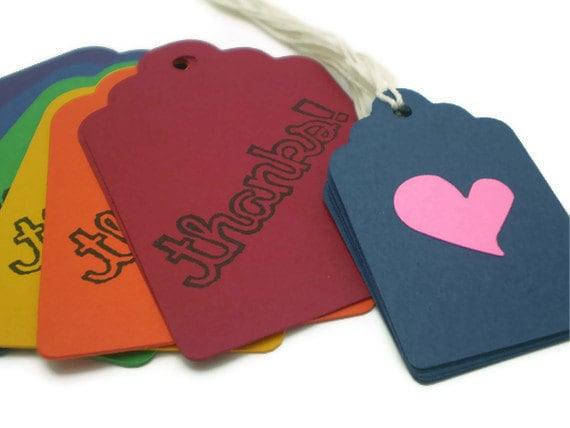 THANKS Tags in Rainbow Colors - set of 12 w/Bonus mini heart tags - HANDMADE by the KIDS