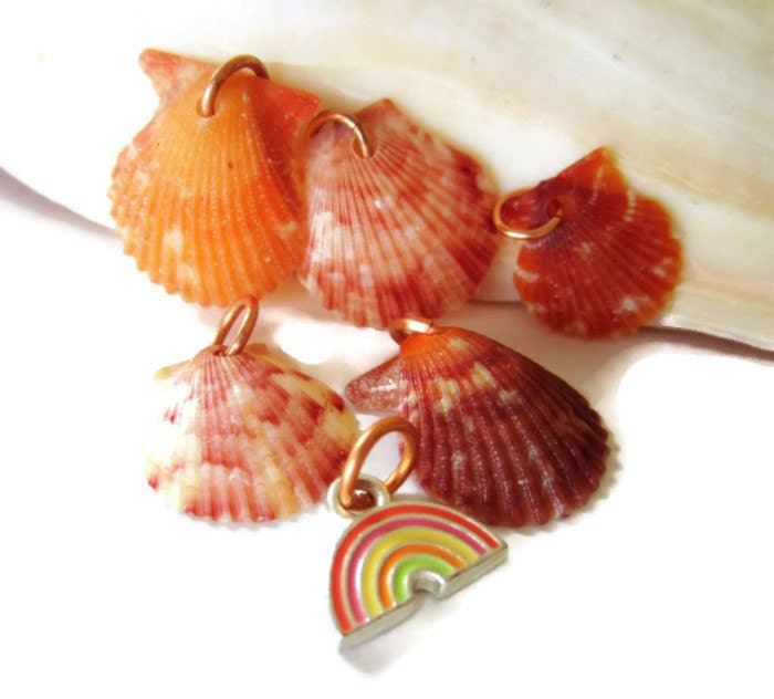 RAINBOW LUCK - Five Sanibel Island Scallop Natural Colorful Seashell Charms, Hand Drilled, Copper Jumprings, Upcycled Rainbow Charm/Supply