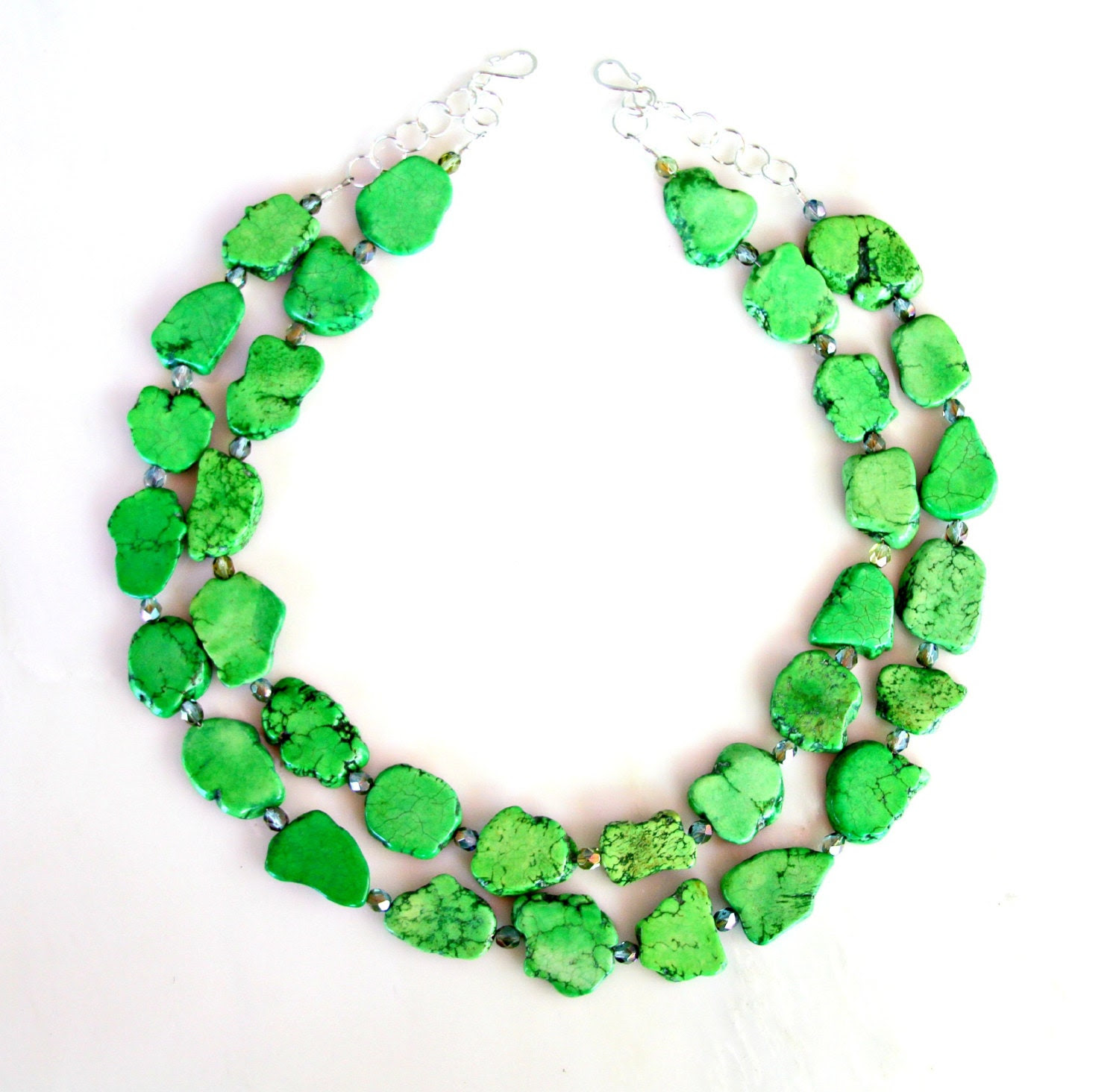 STATEMENT Necklace - Green Turquoise Chunky Slab Cluster Freeform Gems Tribal Goddess DOUBLE STRAND Necklace by Mei Faith