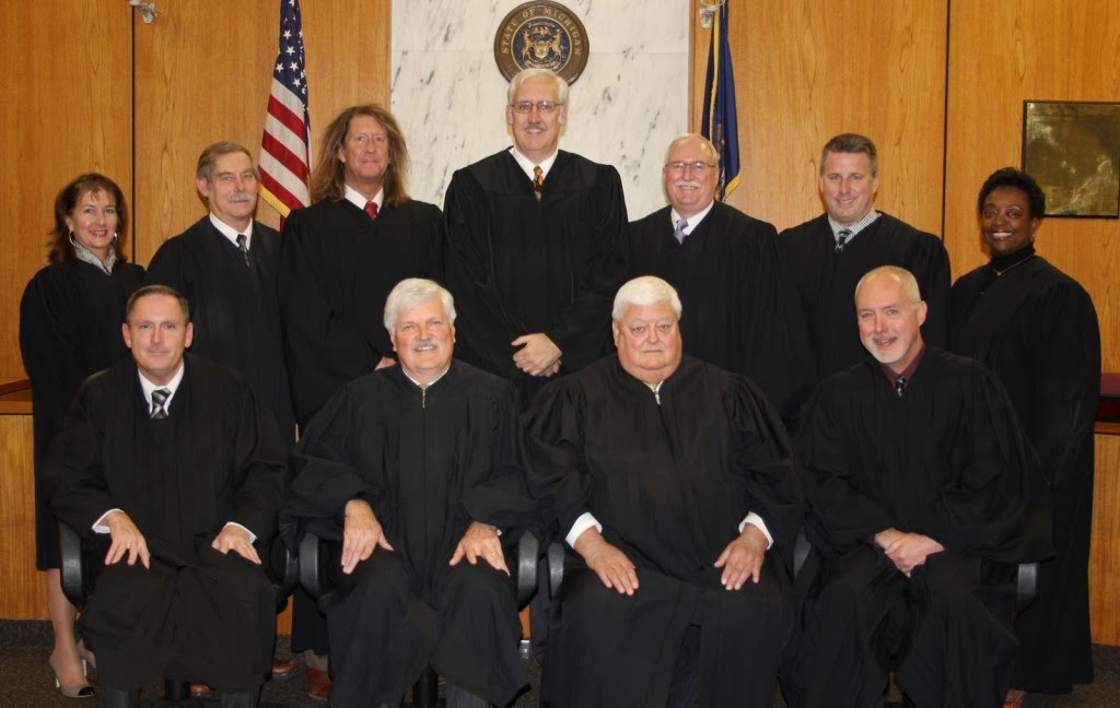 Berrien County Judges: Front row, l to r:  Hon. Gary J. Bruce, Hon. Thomas E. Nelson, Hon. John E. Dewane (civil judge on recall election), Hon. Scott Schofield;  Second row, l to r:  Hon. Angela M. Pasula, Hon. Dennis M. Wiley, Hon. John M. Donahue, Hon. Arthur J. Cotter, Hon. Sterling R. Schrock (Pinkney's criminal judge)Hon. Charles T. LaSata, Hon. Mabel J. Mayfield. Berrien County is renowned for its racist court system, which incarcerates more African-Americans proportionately than any other county in Michigan.
