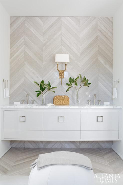 Herringbone Accent Wall - Contemporary - bathroom ...