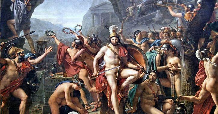 Leonidas en las Termófilas por Jacques Louis David 1812