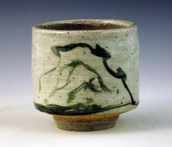 stoneware teabowl with mountain brushwork