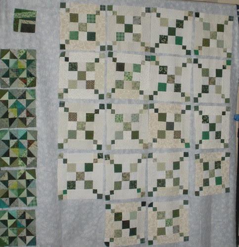 Green Blocks on my Design Wall
