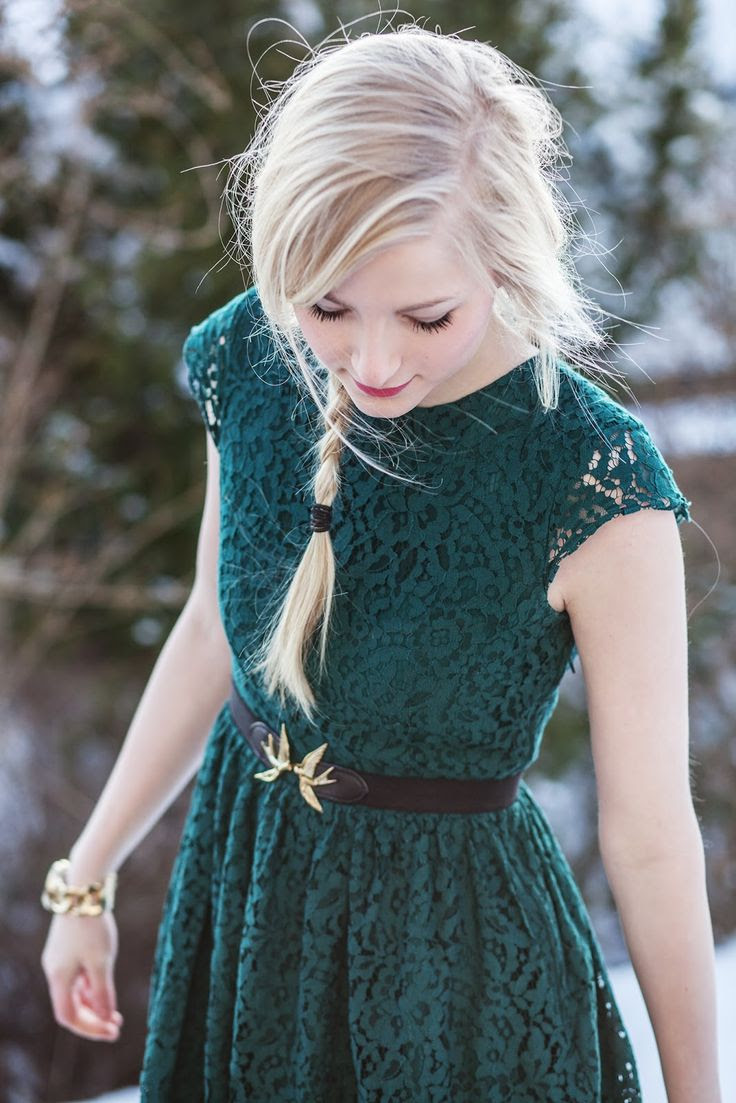 Forest green lace dress + bird belt
