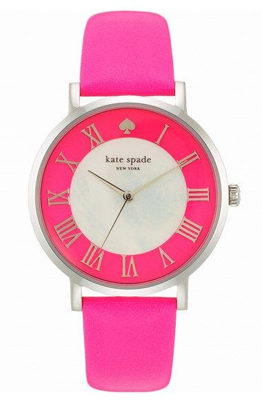 kate spade new york 'metro grand' round leather strap watch, 38mm available at #Nordstrom