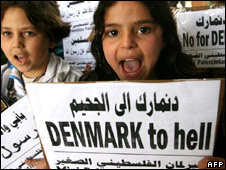 Children in Gaza take part in a protest against the Danish  cartoons