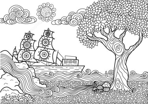 Dibujo De Paisaje Marino Zentangle Para Colorear Dibujos Para