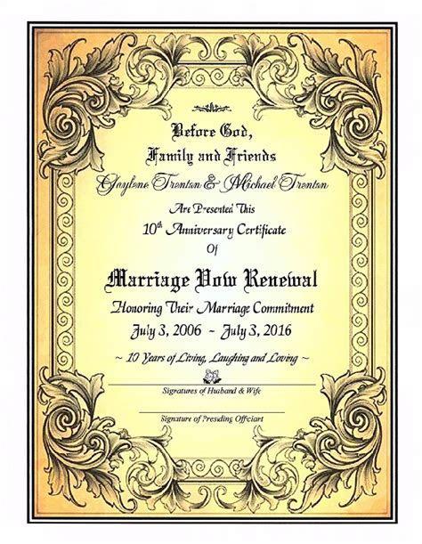 'Golden Grace' Marriage Vow Renewal Certificate