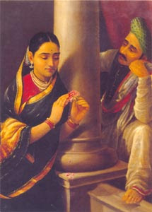 Raja Ravi Varma (1848 - 1906) -  Stolen Interview, Oil on Canvas, Salar Jung Museum, Hyderabad