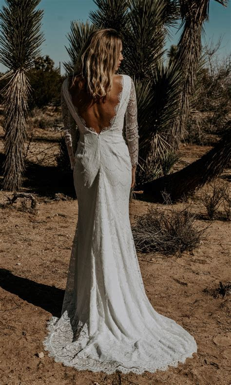 TESSA  Boho Bridal Gown   Long Sleeve Lace Backless