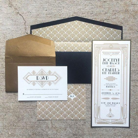 navy, gold und weißes Kunst-Deko-Hochzeits-Einladungen mit 20er Jahre inspirierte Drucke
