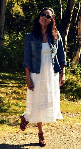 white beach dress, jean jacket