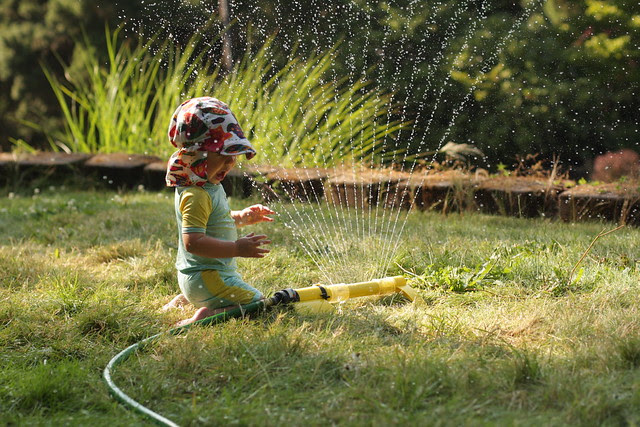 End of the day sprinkler fun