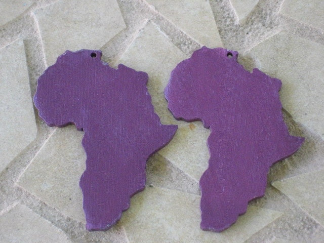 Purple Painted Africa Wood Earrings