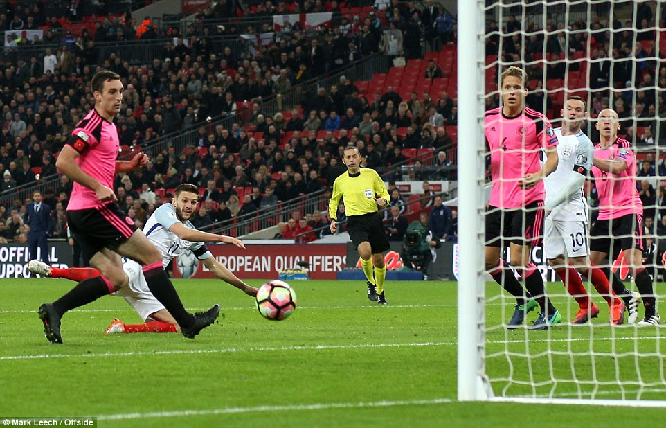 Lallana watches from the floor as his pinpoint header made it 2-0, with Scotland failing to track the Liverpool man's run