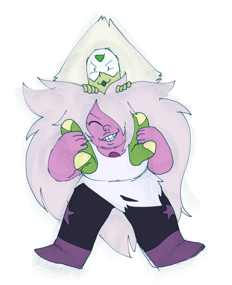 Finally, I figured out how I think the Amethyst-Peridot fusion will look. The most stable fusion is girlfriends stacked on top of each other. Or stuck together cuz someone sat in glue.