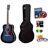 Yamaha FG720S Ocean Blue Burst Folk Acoustic Guitar Bundle with Yamaha Hard Case, Instructional DVD, Picks, Strap...