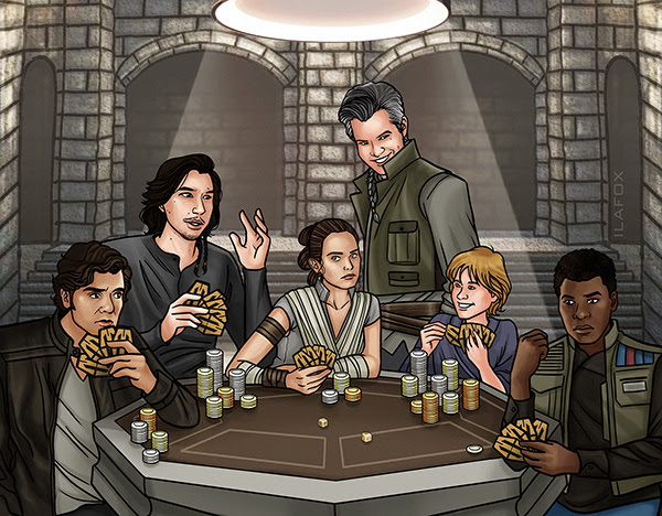 commission reylo, commissions open, commisions, reylo, ila fox, hot side, Kylo Ren, Ben Solo, Rey, Poe Dameron, Finn, sabacc, playing sabacc game