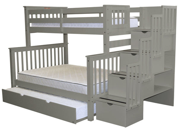 Bunk Beds Twin over Full Stairway Gray  Full Trundle $1029