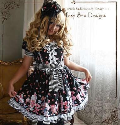 Sweet-Lolita-Candy-Shop-Princess-Puff-Sleeve-Afternoon-Tea-Party-Dress-Headdress