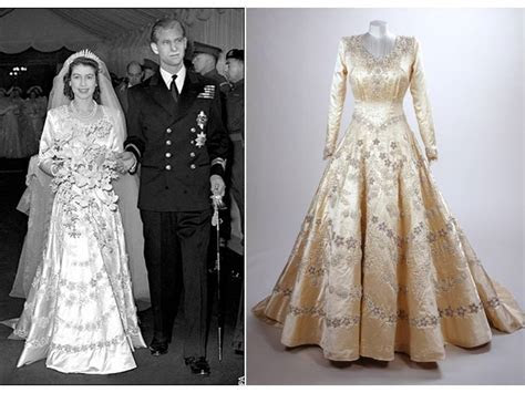 Queen Elizabeth's royal wedding gown   OneWed.com