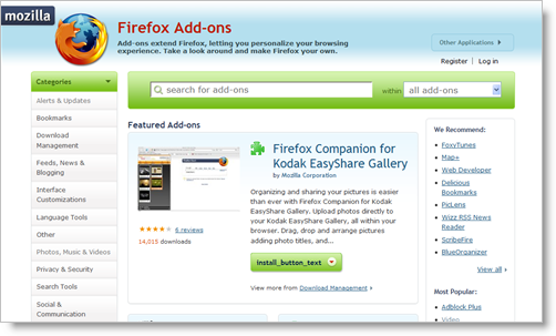 Mozilla Add-ons 3.2 preview